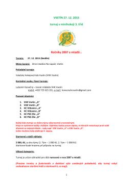 VSETÍN 27. 12. 2015 turnaj v minihokeji 3. tříd