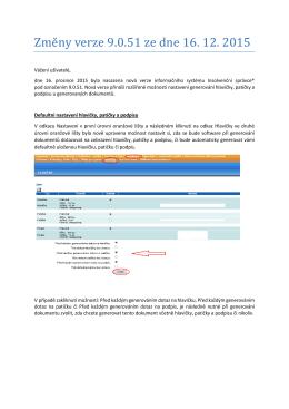 Změ ny věrzě 9.0.51 zě dně 16. 12. 2015