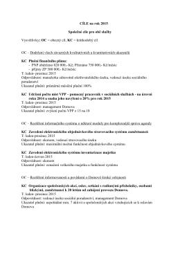 CÍLE na rok 2015 Společné cíle pro obě služby Vysvětlivky: OC