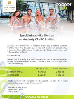 Speciální nabídka členství pro studenty CEVRO Institutu