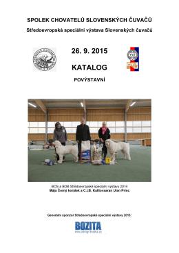26. 9. 2015 KATALOG - Spolek chovatelů slovenských čuvačů