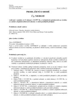 PROHLÁŠENÍ O SHODĚ Č.j. NH/001/05