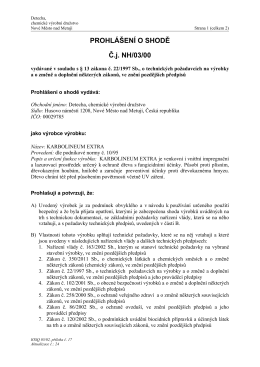 PROHLÁŠENÍ O SHODĚ Č.j. NH/03/00