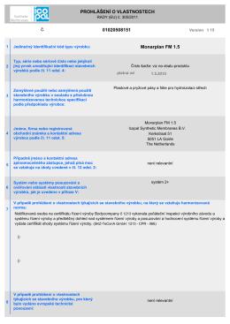 Prohlášení o vlastnostech MONARPLAN FM 1,5