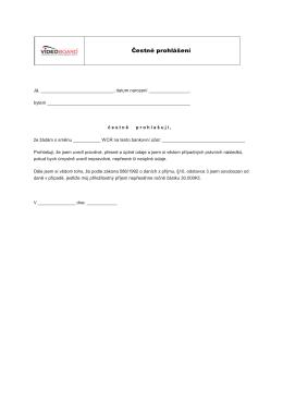 Čestné prohlášení, formulář