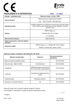 Seznam prohlášení o vlastnostech výrobků PGY