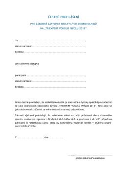 čestné prohlášení - dobrovolníci 2015