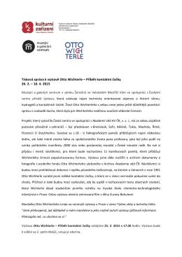 Tisková zpráva k výstavě Otto Wichterle – Příběh kontaktní čočky 26. 2.