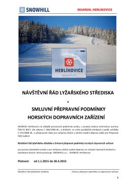 návštěvní řád lyžařského střediska smluvní přepravní