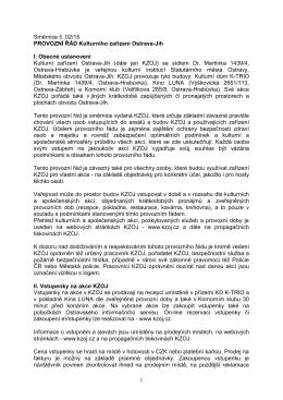 Provozní řád Kulturního zařízení Ostrava-Jih