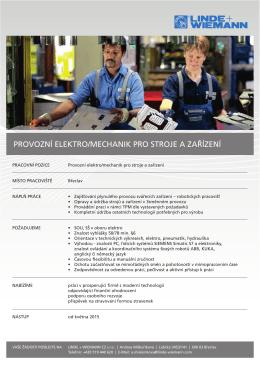 provozní elektro/mechanik pro stroje a zařízení