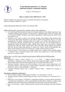 Zápis ze zasedání výboru SHKM dne 8.4.2015