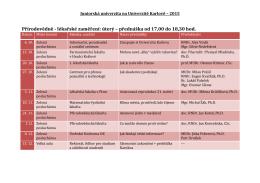 Přírodovědně - lékařské zaměření: úterý – přednáška od 17,00 do