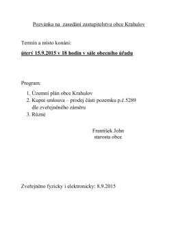 Program zasedání ZO