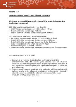 Příloha č. 3 Centra navržená na CCC/HTC v České republice 1