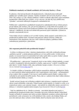 Standardy publikační činnosti na FSV UK