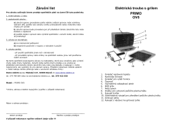 Záruční list Elektrická trouba s grilem PRIMO OV5 - Domo