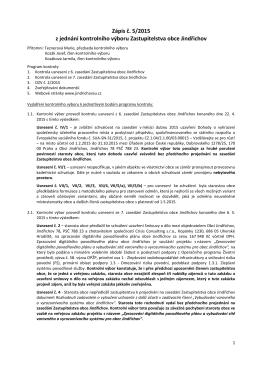 Zápis č. 5/2015 z jednání kontrolního výboru Zastupitelstva obce