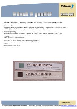 Indikátor MDIS-250 – chemický indikátor pro kontrolu horkovzdušné