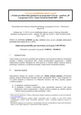 Norske fondy - Vyzva 2015-02-11 vyzva pro BFB Program CZ14