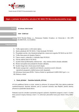 zápis z jednání Krajského sdružení NS MAS Moravskoslezského kraje