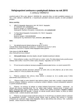 Veřejnoprávní smlouva o poskytnutí dotace na rok 2015