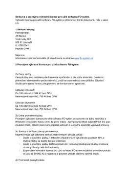 Smlouva o pronájmu výhradní licence pro užití softwaru FOsytém