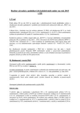 Rozboz závazků z podnikových kolektivních smluv na rok 2015