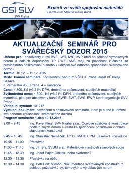 Aktualizační seminář pro svářečský dozor 2015