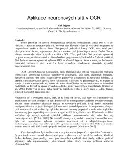 Aplikace neuronových sítí v OCR - Ostravská univerzita v Ostravě