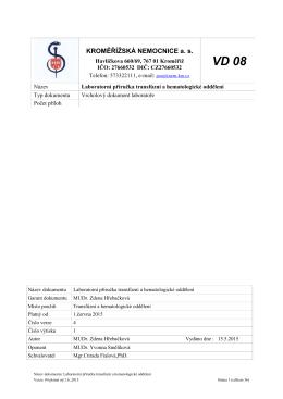 Laboratorní příručka HTO - Kroměřížská nemocnice as