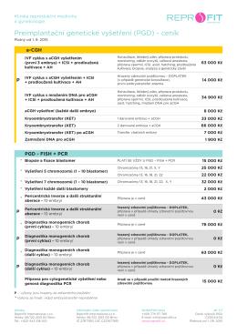 Preimplantační genetické vyšetření (PGD) - ceník