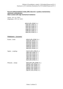 Příloha k ES prohlášení o shodě č. 5/ES/trubkyENnasuvne/05