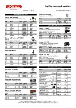 Ceník doplňků okapového systému - INTEG