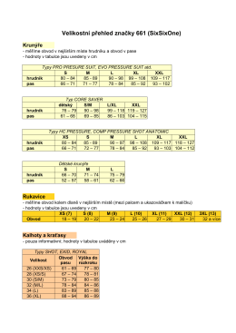 661 tabulka velikostí