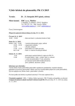 Výběr hřebců do plemenitby PK CS 2015