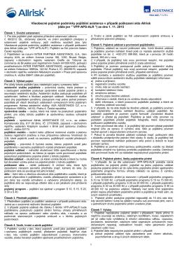 Všeobecné pojistné podmínky pojištění asistence v případě