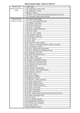 Školní seznam četby - školní rok 2014-15