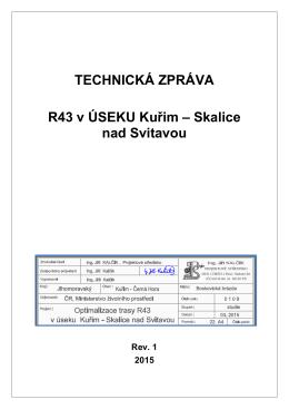 Náčrt optimalizované trasy rychlostní silnice R43 - Sokol