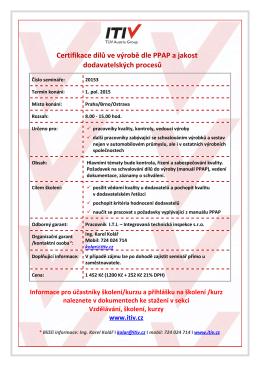 seminář - leták - certifikace dílů