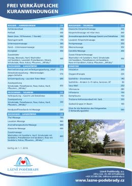 Preisliste Kuranwendungen 2016