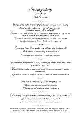 Menu Restaurace - Chateau Hostacov