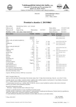 Rozbor vody v obecním vodovodu k 15.03.2015