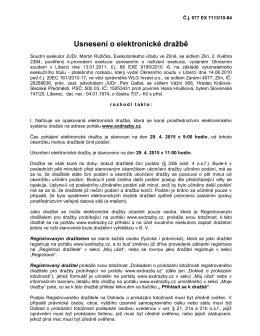 Usnesení o elektronické dražbě Hrušková H.