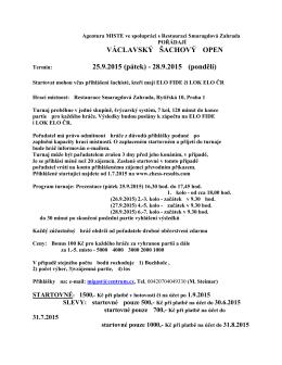VÁCLAVSKÝ ŠACHOVÝ OPEN 25.9.2015 (pátek)