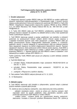 Tarif IDS IREDO od 13.12.2015