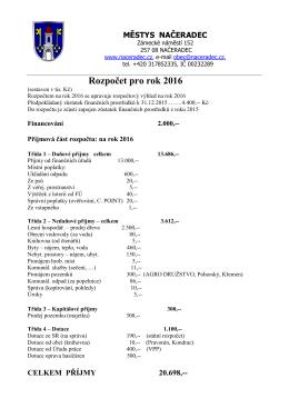 Rozpočet - Městys Načeradec