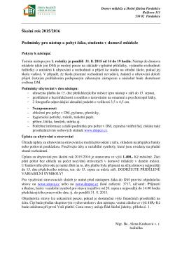Podmínky pro nástup a pobyt 2015/2016