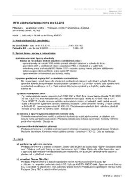 INFO z jednání představenstva dne 9.3.2015