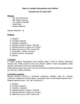Zápis z veřejného zasedání zastupitelstva ze dne 23. 4